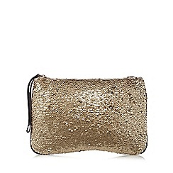The Collection - Gold sequin clutch bag