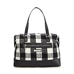 The Collection - Black checked weekender bag