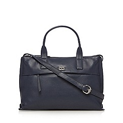 The Collection - Navy leather front zip grab bag