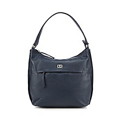 The Collection - Navy leather front zip shoulder bag
