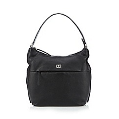 The Collection - Black leather front zip shoulder bag