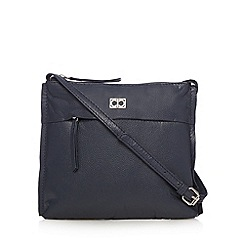 The Collection - Navy leather front zip small cross body bag