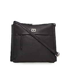 The Collection - Black leather front zip small cross body bag