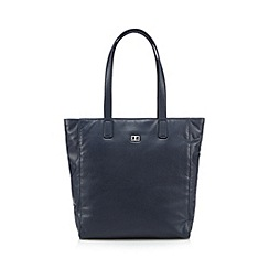 The Collection - Navy leather shopper bag