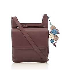 The Collection - Purple leather flower charm cross body bag