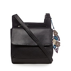 The Collection - Black leather flower charm cross body bag