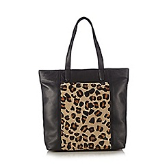 The Collection - Black leather leopard print panel shopper bag