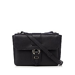 The Collection - Black leather eyelet cross body bag