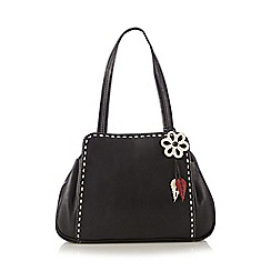 The Collection - Black leather contrast stitch shopper bag