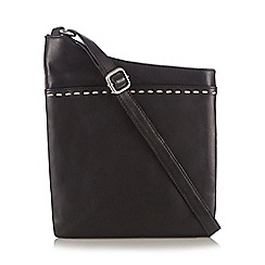 The Collection - Black leather contrast stitch cross body bag