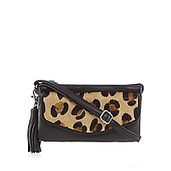 The Collection - Brown leopard print cross body bag