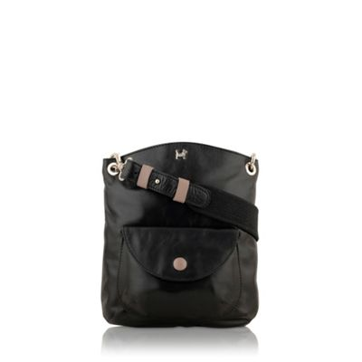 Black rectangular across body handbag