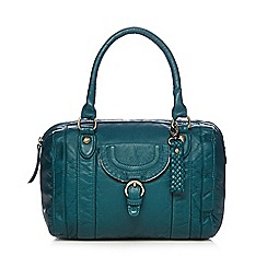 Mantaray - Dark turquoise washed bowler bag