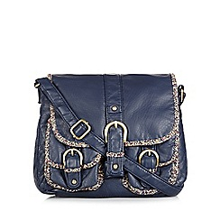 Mantaray - Navy grained floral trim despatch bag