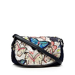 Mantaray - Blue butterfly sequinned cross body bag
