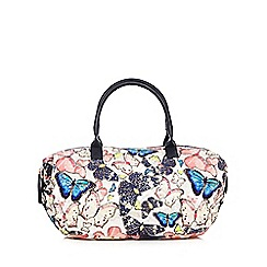 Mantaray - White sequinned butterfly weekender bag