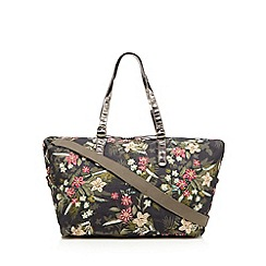 Mantaray - Khaki floral embellished weekender bag