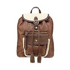 Mantaray - Brown suedette backpack with fleece trim