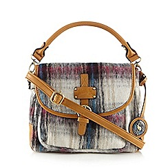 Mantaray - Cream checked brushed wool-blend satchel bag