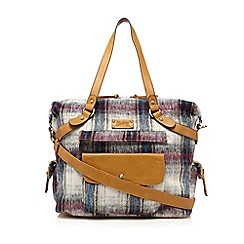 Mantaray - Cream checked brushed wool-blend weekender bag