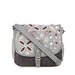 Mantaray - Grey wool-blend floral embellished dispatch bag