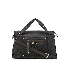 Mantaray - Black leather front pocket bowler bag
