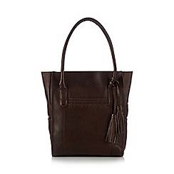 Mantaray - Dark brown leather tote bag