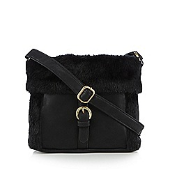 Mantaray - Black faux fur cross body bag