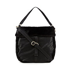 Mantaray - Black faux fur hobo bag