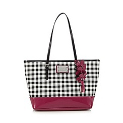 Floozie by Frost French - Black patent gingham checked floral tote bag