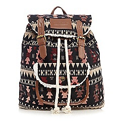 Iris & Edie - Black canvas aztec backpack