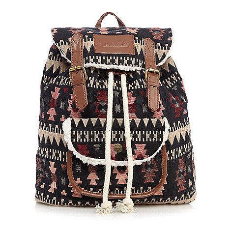 Iris & Edie - Black canvas aztec backpack