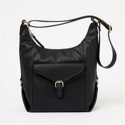 Black Branded Enamel Plate Grab Handbag