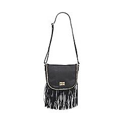 Call It Spring - Black 'Abbyville' faux snakeskin tasseled cross body bag