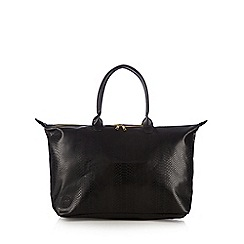 Mi-Pac - Black snakeskin winged weekender bag