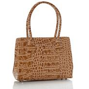 Beige Small Leather Crocodile Embossed Tote Bag