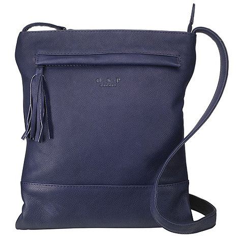 O.S.P OSPREY - Brussels navy nappa leather cross-body bag