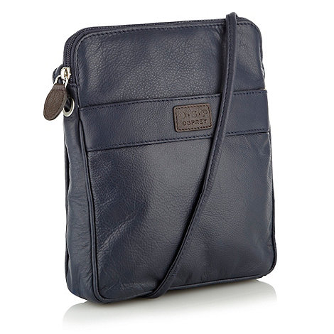 O.S.P OSPREY - Strasbourg navy nappa leather cross-body bag