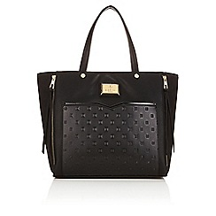 Lipsy - Black studded logo plate shopper bag