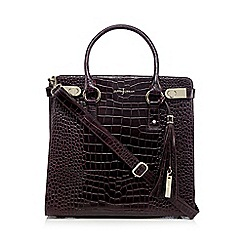J by Jasper Conran - Purple leather croc textured tote bag