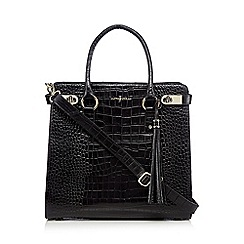 J by Jasper Conran - Black leather croc textured tote bag
