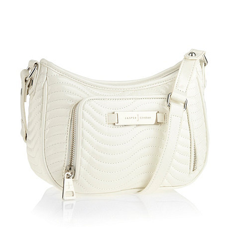 J by Jasper Conran - Designer light cream wave quilted cross body bag