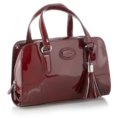 Dark Red Embossed Logo Grab Handbag
