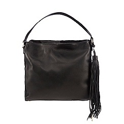 J by Jasper Conran - Black leather tasselled three compartment grab bag