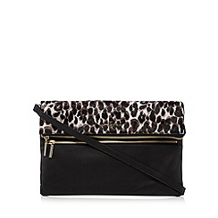 J by Jasper Conran - Black leather leopard print pony hair insert clutch bag