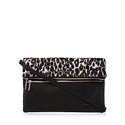 J by Jasper Conran - Black leather leopard print pony hair insert clutch bag