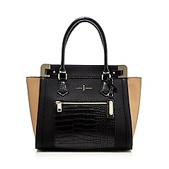J by Jasper Conran - Black colour block croc-effect tote bag