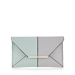 J by Jasper Conran - Light green colour block envelope clutch bag