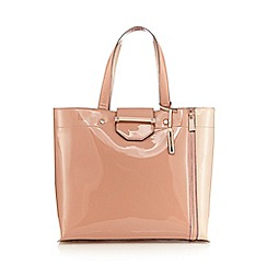 J by Jasper Conran - Pink colour block patent shopper bag