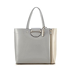 J by Jasper Conran - Grey bar lock shopper bag